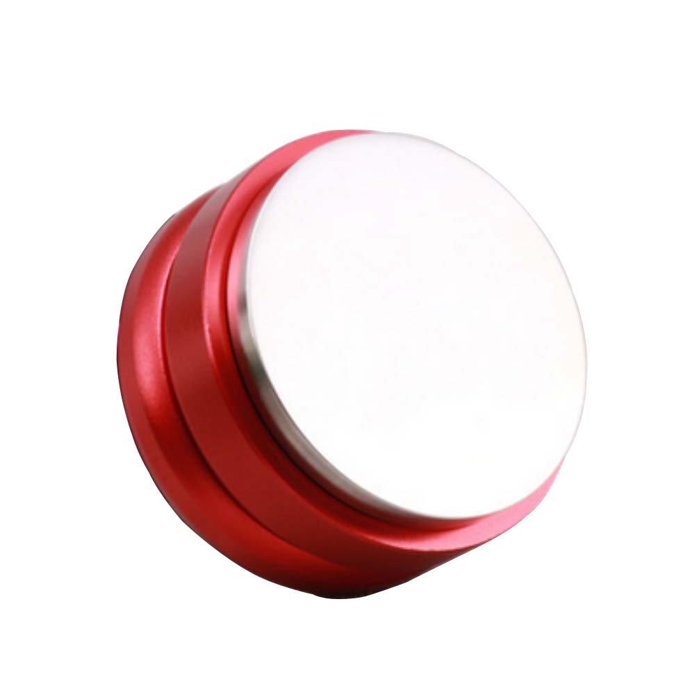 SMKF Adjustable Coffee Distributor/Leveler Tool - Palm Tamper for Espresso - 58mm - Flat (Red)