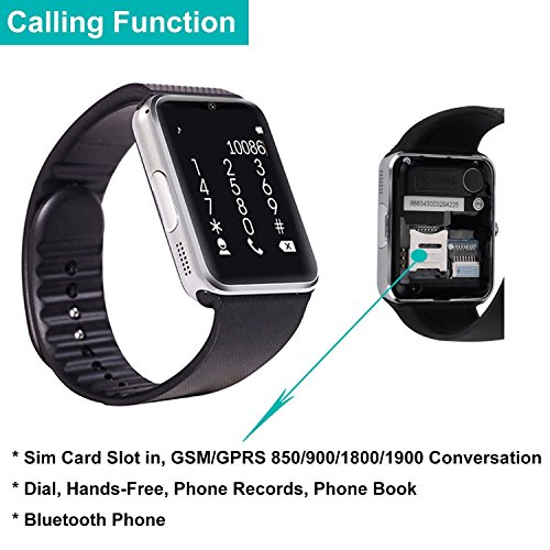 Montre Connectée,Willful Bluetooth Smartwatch Montre Sport Carte Sim de Soutien et Carte de TF Caméra avec Podomètre,Sommeil,Calories pour Samsung Sony ...