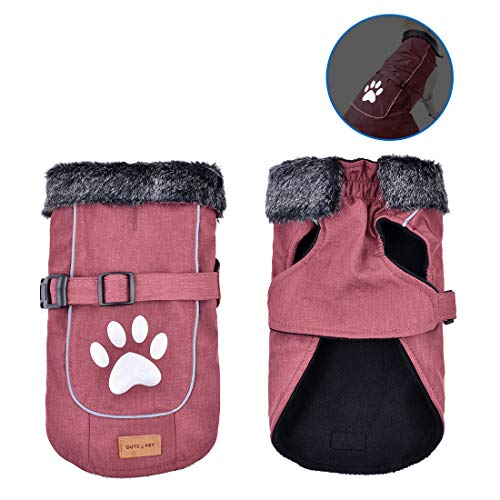 (Dog Jacket Reflective Winter Coat Waterproof Adjustable Warm Dog Vest Winter Clothes Pet Apparel for Small Medium Large Dog Outdoor Indoor Activities (Red S) )