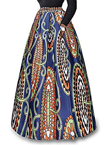 930 - Plus Size Ethnic African Print Long Maxi Skirt (2X, Paisley)