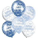 Blue And White Shiny Glitz Classy Happy Birthday 12 Latex Balloons Mix