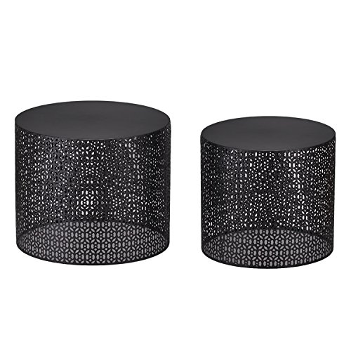 Joveco Metal Iron Nesting Round Side End Table Black Set of 2 (Size Two) ()
