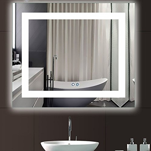 Siminda Touch switch LED Backlit Mirror Wall Mount Mirror Illuminated Vanity Mirror with Touch Button for Bathroom 23.6 X 31 Inch by Siminda
