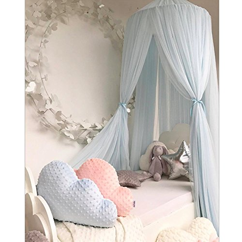 Dome Bed Mesh Canopy Fancy Gauze Curtain Fairy Tale Fantasy Dream Princess Castle Mosquito Net Sleeping Playing Reading Tent House Baby Kids Room Lace Decoration(BABY BLUE)