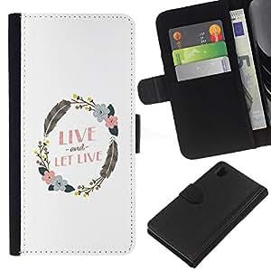 iBinBang / Flip Funda de Cuero Case Cover - Guirnalda del Live And Let Pluma Blanca Limpia - Sony Xperia Z1 L39H
