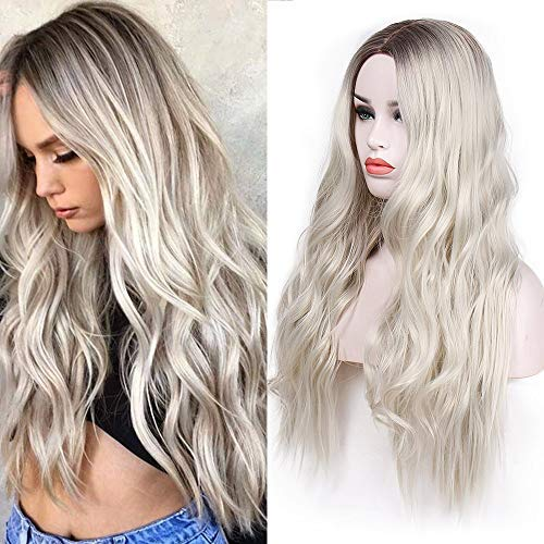 Vigorous Ombre Wig Long Curly Wavy Platinum Blonde Wigs for Women 2 Tone Dark Brown Roots with Synthetic Heat Resistant Natural Looking Middle Part Wigs for Cosplay Party Daily Wear -