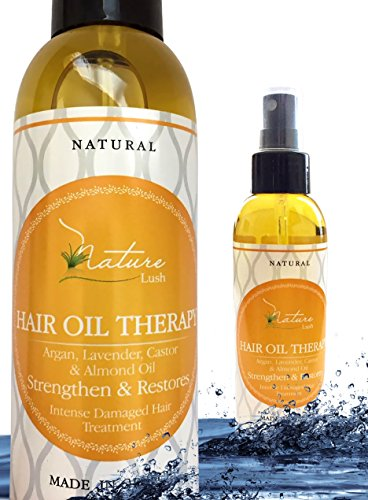 Best Natural Hair Oil Therapy -100% Organic & Natural Argan, Lavender, Castor, Olive, Almond Oil - Anti Wrinkle, Moisturizer for Skin, Hair, Scalp, Beard, Cuticle, Nails & Foot - Nature Lush 5.07oz