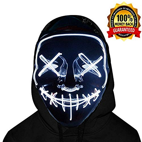 Halloween Scary Mask Cosplay Led Costume Mask EL Wire Light up Purge Mask for Halloween Festival Party (LED-White) -