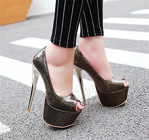 da Pompe Aperto Scarpe Tacco a piattaforma Festa Club piede e EU36 da serata sandali a Nozze Dito donna GAOGENX 41 35 spillo del 5Tq0dSx5w