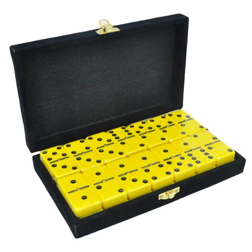 Domino Double 6 Yellow Jumbo Tournament Professional Size with Spinners in Elegant Black Velvet ()
