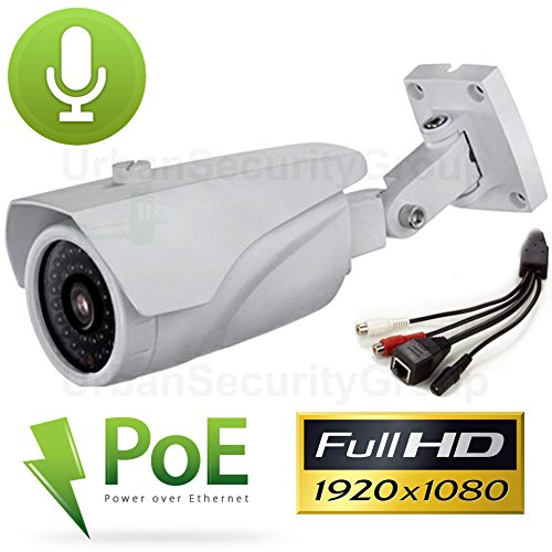 Cheap USG 2.2MP 1080P IP PoE Bullet Security Camera with Audio: 2.8-12mm Varifocal Lens + Audio-In+Out + 42x IR LEDs For 130 Feet Night Vision + IR-Cut + ONVIF + WDR + IP66 NEMA 4x Outdoor Rated