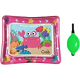 Decdeal Baby Inflatable Water Playmat Pink Tummy Time Infant Mat 50x60cm with Ha