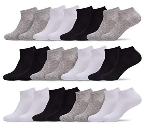 Womens 24 Pack of Lightweight Fun, Funky and Colorful Anklet Ankle Socks (Black/Grey/White, Shoe: 5-10 / Sock: 9-11) ()