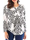 TOP HERE Women's Printed Long Sleeve V Neck Pleated Casual Henley Blouse Shirt Tops (Black1, XL)