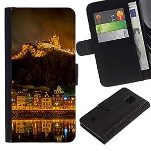 KingStore / Leather Etui en cuir / Samsung Galaxy S5 Mini, SM-G800 / Mountain City Noche