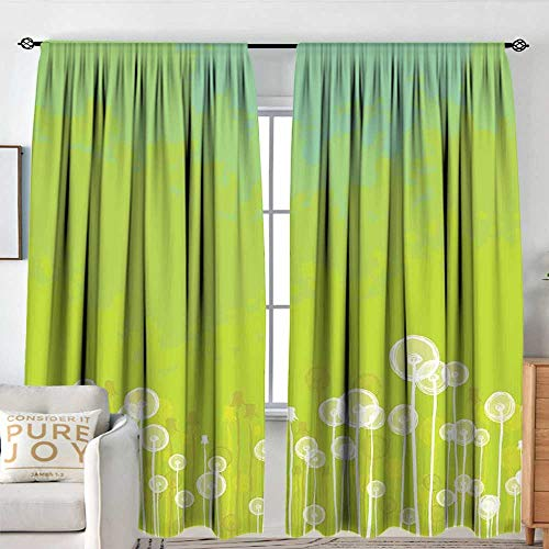 NUOMANAN Curtain Panels,Set of 2 Dandelion,Dandelion Flower Pattern Wild North American Flowering Plant Summertime,Apple Green Seafoam,Modern Farmhouse Country Curtains 84