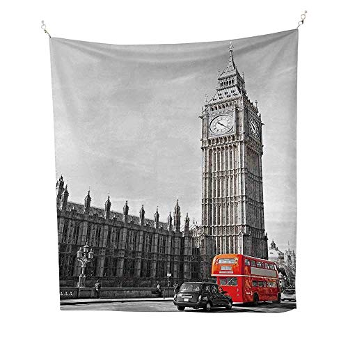 Londonsimple tapestryBig Ben Tower Begining of Westminster Bridge with Black Cab and Red Bus Image 60W x 91L inch Art tapestryGrey Black Red