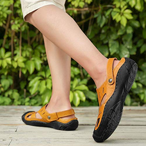 Scarpe Lightbrown Del Piede Pantofola Chiuso Baotou A Dito Uomini Vacchetta Passeggio 44 Sandali Estate nPw7qx5f