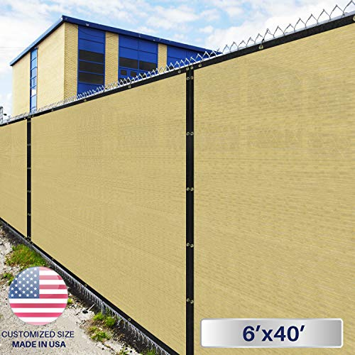 Windscreen4less Heavy Duty Privacy Screen Fence in Color Beige with White Stripes 6' x 40' Brass Grommets w/3-Year Warranty 150 GSM (Customized Size)