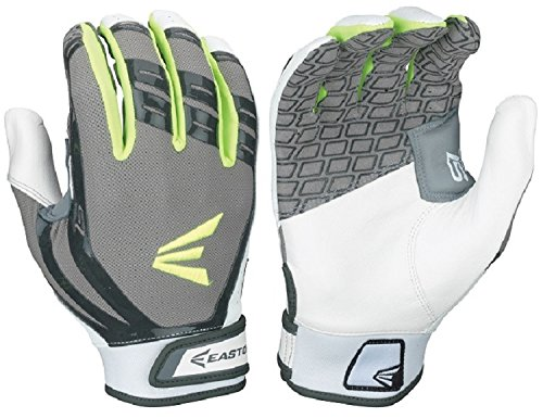 Easton Hyperskin - HF Turboslot Fastpitch Batting Gloves, Black/Grey, - Glove Batting Fastpitch Softball