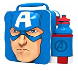 Kids Children Insulated 3D Lunch Bag Box And Drink Sport Water Bottle Set (Captain America)