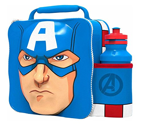 PAW Kids Children Insulated 3D Lunch Bag Box and Drink Sport Water Bottle Set (Captain America) (Captain Bottle)