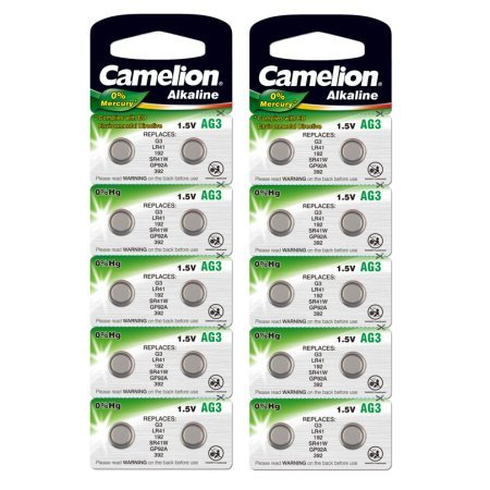 20 CAMELION AG3 / LR41 / 192 / 392 Button Cell Watch Battery With Long Shelf Life (Expire Date Marked) (Button Ag3 Cell)