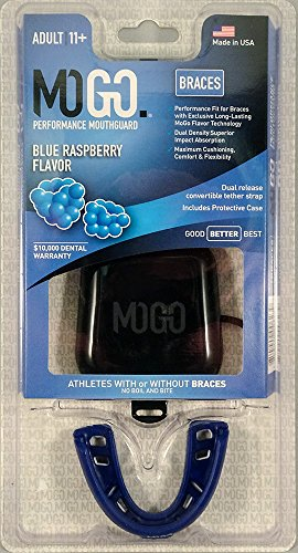 MOGO. Flavored Blue Raspberry Braces Mouth Guard - Football Mouthguard for Braces - Adult Size Fits Ages 11 & Up - Mouthpiece Comes with Case and Tether Strap (Blue Raspberry - Blue)