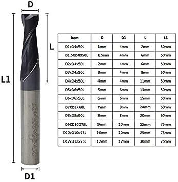 in Acciaio al tungsteno D2xD4x50L 1 Fresa HRC 45 da 1 a 12 mm Fresa a Spirale XBF-TOOL con 2 scanalature CNC