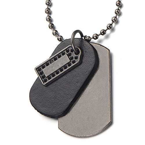 COOLSTEELANDBEYOND Punk Rock Metal and Leather Dog Tag Pendant Necklace for Men Boys with 26 Inches Ball Chain