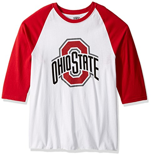 NCAA Ohio State Buckeyes Men's Ots Rival Raglan Distressed Tee, Large, White Wash