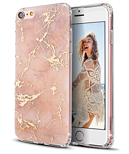 iPhone 6S Plus Case,iPhone 6 Plus Case,Spevert Marble Pattern Hybrid Hard Back Soft TPU Raised Edge Ultra-Thin Shock Absorption Protective Case for iPhone 6S Plus/iPhone 6 Plus - Rose Gold