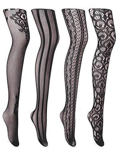 Joyaria Womens Sexy Suspender Tights Fishnet Thigh-High Garter Stockings Pantyhose Black Pattern 4 Pack ()