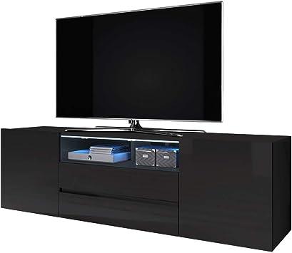 Selsey Bros - Mueble TV Minimalista/Mesa TV/Mueble para Salón/Mueble TV Moderno (con LED, Negro Mate/Negro Brillante): Amazon.es: Electrónica