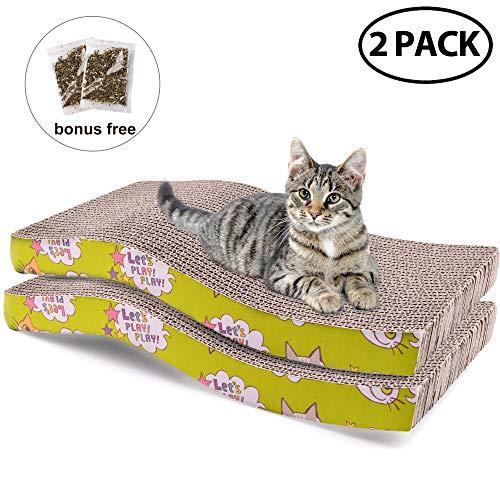 Cat Scratcher Cardboard with Catnip, Recycle Corrugated Scratching Pad Reversible Replacement Scratcher Pad Lounge Sofa Bed (S Shape Cat Scratch - Wave Cat Scratcher
