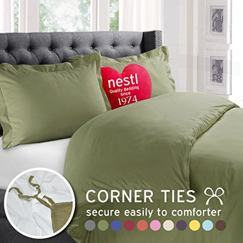 Nestl Bedding Duvet Cover, Protects and Covers your Comforter / Duvet Insert, Luxury 100% Super Soft Microfiber, California King Size, Color Sage Green, 3 Piece Duvet Cover Set Includes 2 Pillow Shams