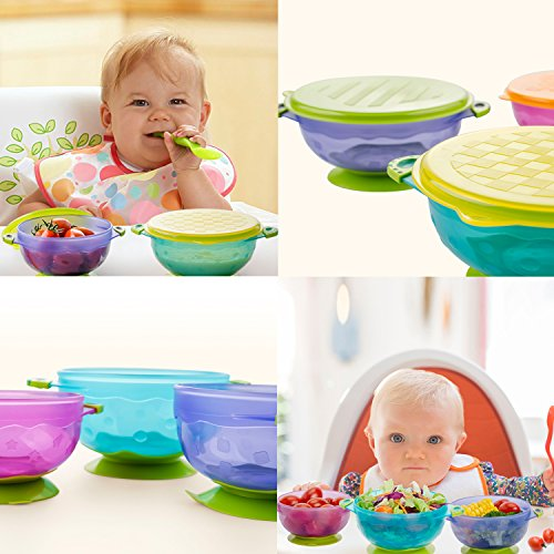 Zooawa Baby Bowls with Suction Base, 3-Pack Nonslip Spill Proof Feeding Training Bowl Dinnerware with Seal Easy Lid for Babies, BPA-Free, for Over 6 Months Infants, Colorful by Zooawa (Image #7)