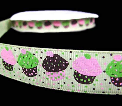 5 Yds Pink Green Chocolate Brown Sprinkled Cupcakes Grosgrain Ribbon 7/8