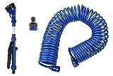 SpigotKing COIL Water Hose, Garden Sprayer with Quick Connect BONUS- Lightweight, Collapsible, 3/8 inch X 50 feet, Best Indoor, Outdoor - Garden Gift for Women and Men, Small Flex Hose, No Reel Needed