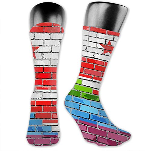 SARA NELL Men Women Crew Socks Brick Wall Washington Dc and Gay Flags Winter Warm Compression Socks Sport Athletic Socks Tube Stockings Long Socks Funny Personalized Xmas Gift -