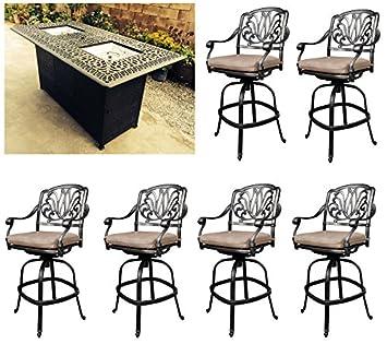 fire pit dining table set outdoor propane heater elizabeth bar stools cast aluminum furniture