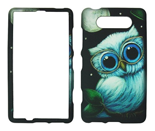 2D Moon Owl Nokia Lumia 820 AT&T Case Cover Hard Phone Case Snap-on Cover Rubberized Touch Protector Faceplates ()