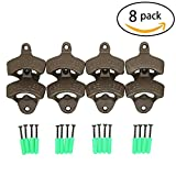 """Set of 8 """"Open Here"""" Wall Mounted Bottle Openers - Cast Iron Beer Cap Opener Vintage Look Replica Rustic Restaurant & Vintage Iron Home Decor for Home Bartender"""