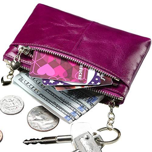 Itslife RFID BLOCKING Triple Zipper Leather Mini Coin Purse Card Holder with Key Chain (FUCHSIA)