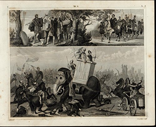 Battle Scene Armored Elephant Chariot nice 1855 antique print w/ amazing details