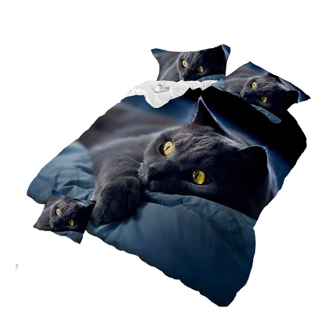 hiixhc Bettwä sche-Set, Schwarze Katze, fü r Kinder und Erwachsene, Bettlaken, Kissenbezü ge, King-Size-Grö ß e, 4-teilig 260*225cm
