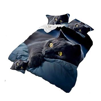 Juego de ropa de cama para gato negro 3D, de algodón, para ...