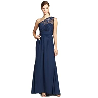 Vickyben Navy Blue Prom Dress One Shoulder Long Bridesmaid Dresses