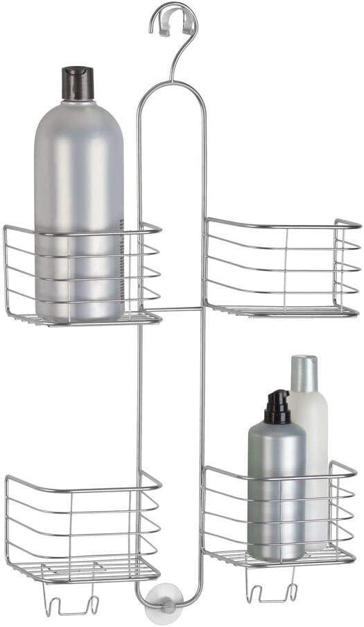 mDesign Estantería Ducha sin Taladro - 4 cestas– Accesorios Ducha para organizar Productos de higiene como champú, Gel, acondicionador – Almacenamiento Extra Grande – Color: Plateado
