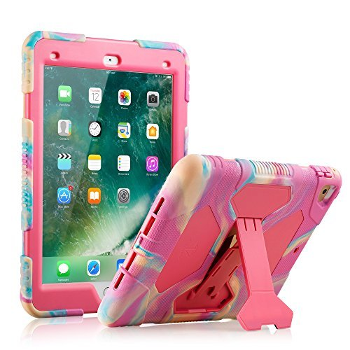(ACEGUARDER iPad 2017/2018 iPad 9.7 inch Case, Shockproof Impact Resistant Protective Case Cover Full Body Rugged for Kids with Kickstand for Apple ipad 5 th/ipad 6 th Generation, Pink Camo/Rose)